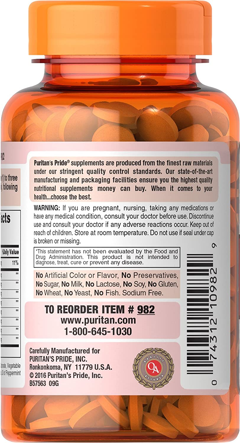 Puritans Pride Chewable Super Papaya Enzyme Plus, 180 Count