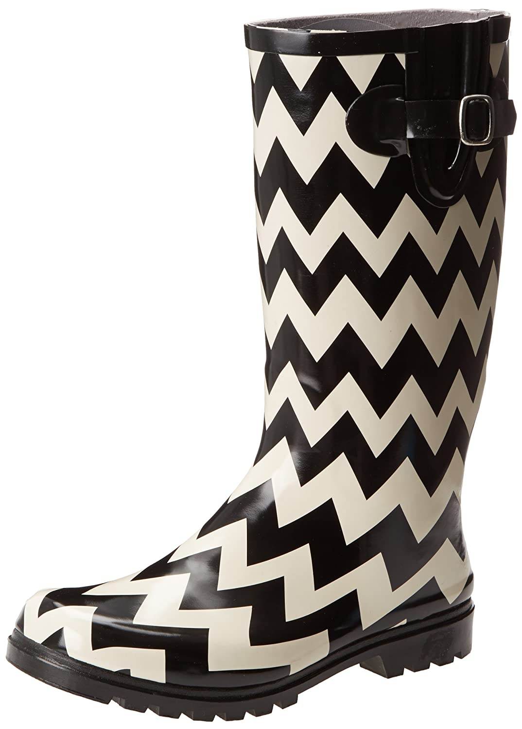 Nomad Women's Puddles Rain Boot B00E80X92Y 5 B(M) US|Black/White Chevron