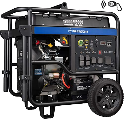 Westinghouse WGen12000 Ultra Duty Portable Generator 12000 Rated 15000 Peak Watts Gas Powered, Electric Start, Transfer Switch and RV Ready, CARB Compliant