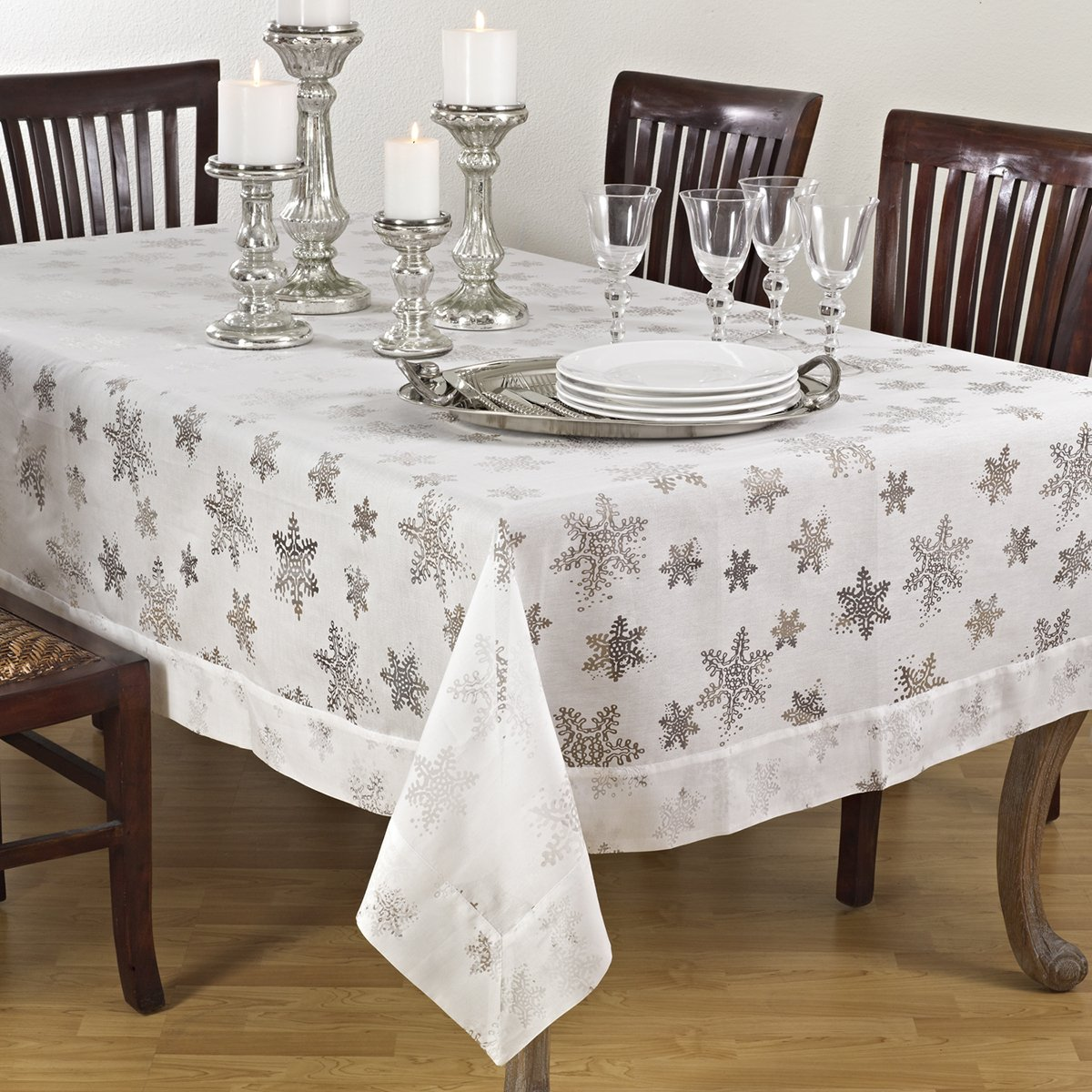 White Color Burnout Holiday Snowflake Design Tablecloth, 70 Inch by 180 Inch Rectangular