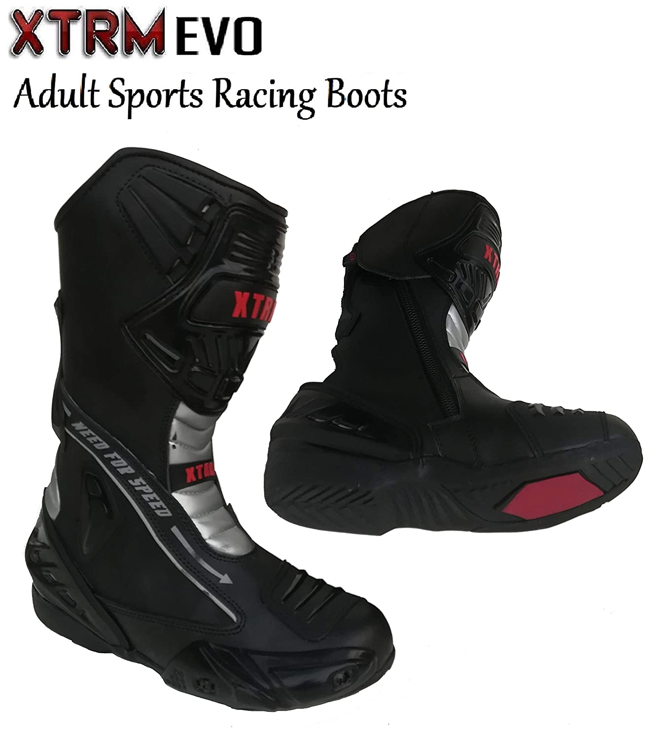XTRM Motorcycle Sports Boots BLADE Adult Motorbike Mens On Road Racing Boots Heavy Duty Reinforced Black//Red