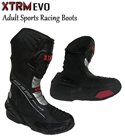 XTRM EVO ADULT SEMI SPORTS MOTORCYCLE BOOTS New 2019 Motorbike Scooter Biker Rider On Road Racing Touring Men /& Women Heavy-Duty Armour Protection Leather Boots