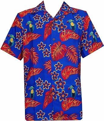 Alvish - Camisa hawaiana para hombre con estampado de loro/tucán Azul y naranja. 4XL: Amazon.es: Ropa y accesorios