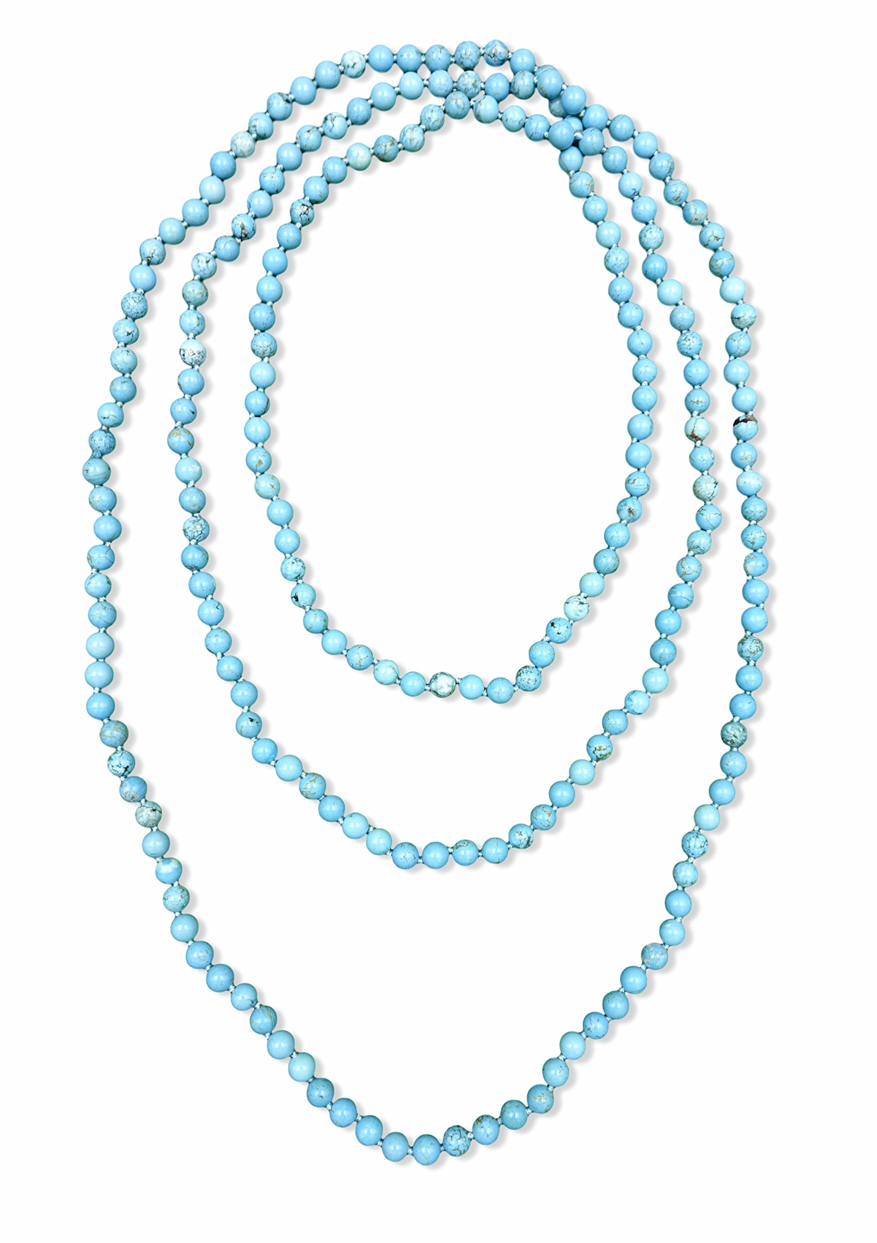 BjB 80 Inch Long 8MM Polished Blue Turquoise Multi-layer Long Endless Infinity Beaded Necklace.