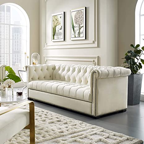 Amazon.com: Modway Heritage Tufted Performance Velvet Upholstered Chesterfield Sofa with Nailhead Trim in Ivory: Furniture & Decor