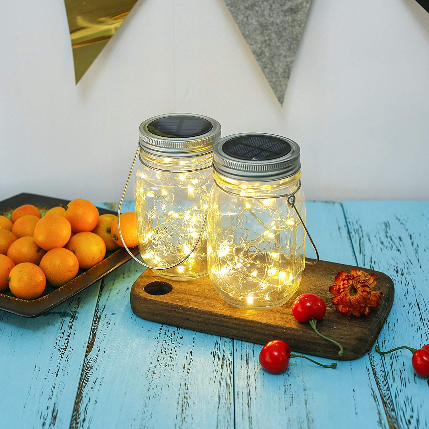 Solar Mason Jar Lights, Adecorty Outdoor Hanging Lights 2 Pack 20 LED String Fairy Star Firefly Jar Lights (Jars & Hangers Included) Warm White Waterproof Solar Lanterns for Garden Patio Outdoor Decor by Adecorty (Image #9)