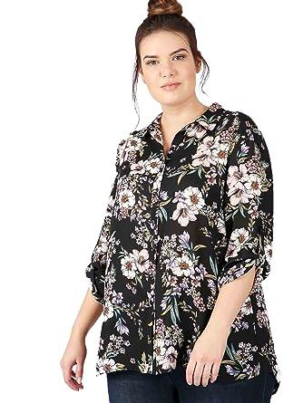 Lovedrobe GB Womens Plus Size Black V-Neck Lace Detail Tie Sleeve Blouse