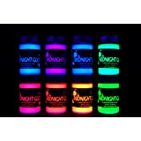 Midnight Glo UV Paint Acrylic Black Light Reactive Bright Neon Colors Set of 8 Bottles Great for Crafts, Art & DIY Projects, Blacklight Party(0.75 oz)
