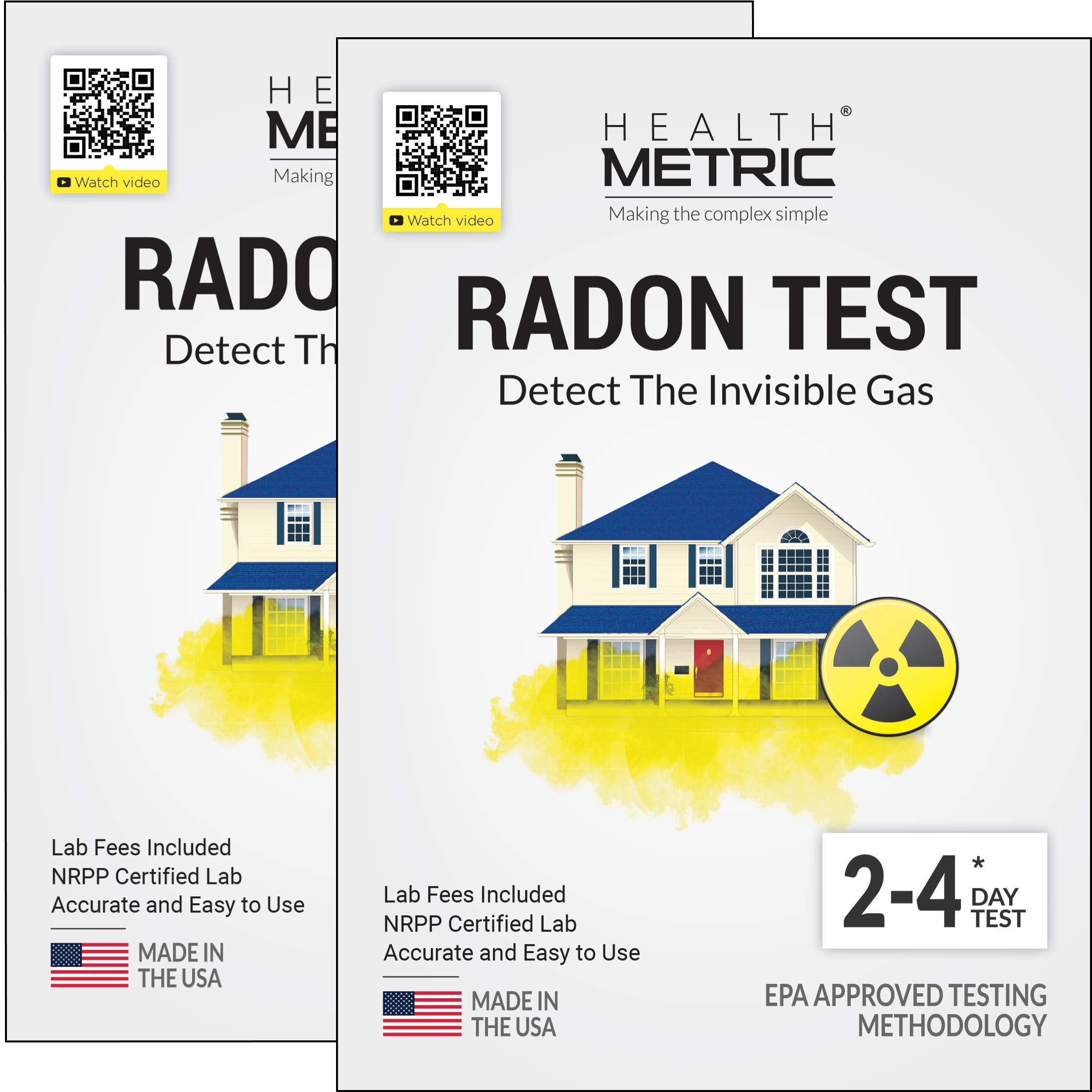 Radon Test Kit for Home - Easy to Use Charcoal Radon Gas Detector for Peace of Mind | 48-96h Short Term EPA Approved Radon Tester | Includes Lab Fees | Protect Yourself and Your Family | 2-Pack by Health Metric