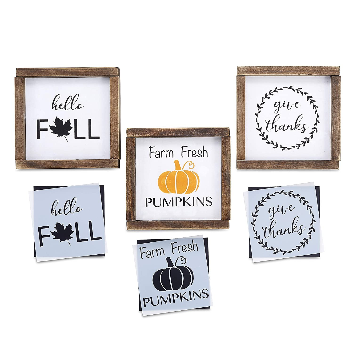 Give Thanks, Farm Fresh Pumpkins, Hello Fall Stencil Set | Reusable Sign Stencils for Painting on Wood | 3 Pack | Ideal for Wood Signs, Walls, Furniture (DIY Fall Home Decor) Essential Stencil
