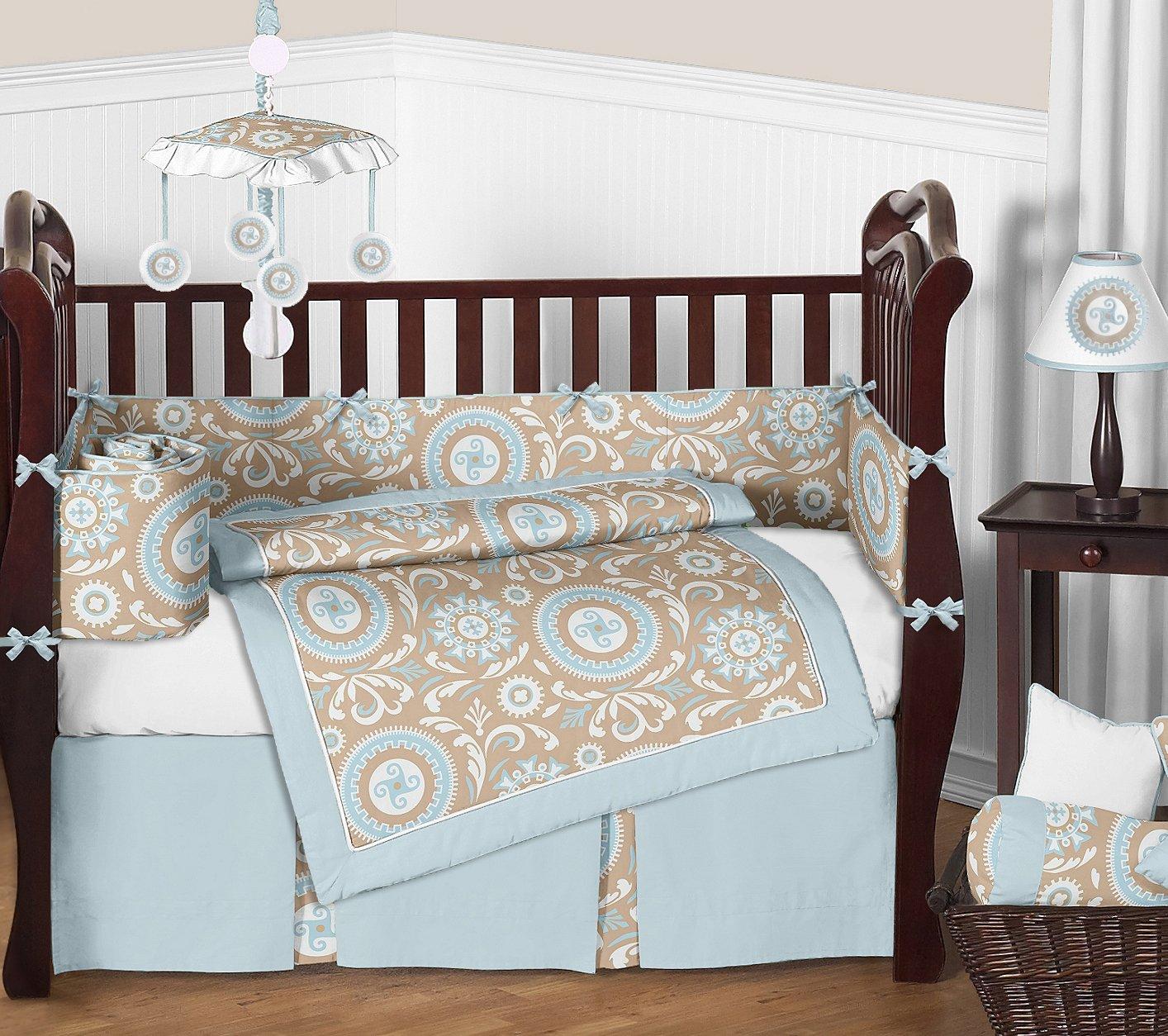 Sweet Jojo Designs 9-Piece Blue and Taupe Hayden Gender Neutral Baby Bedding Girl or Boy Crib Set
