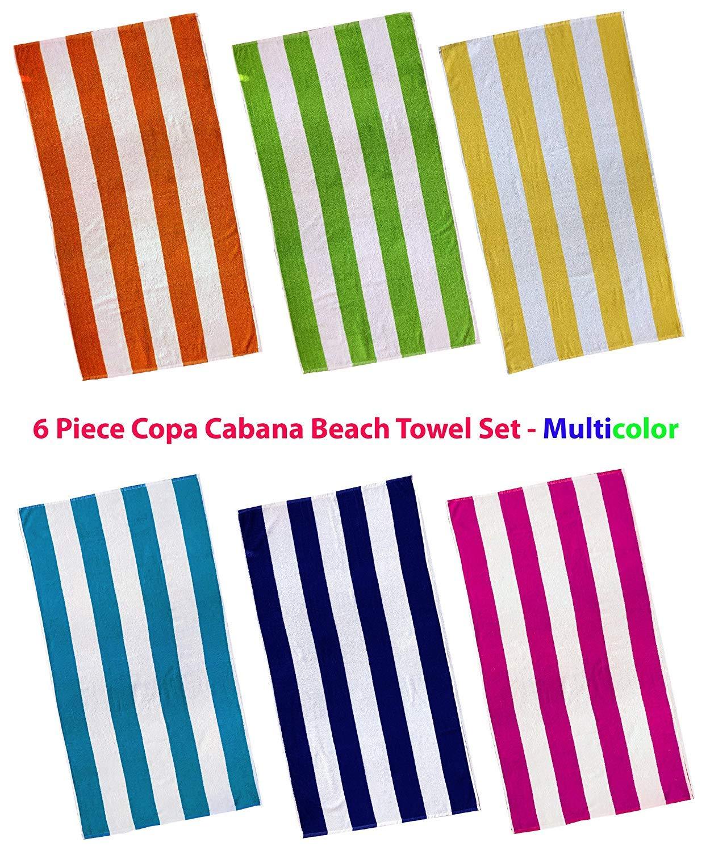 3 Pack Cabana Stripes Royal Blue Beach//Pool Towel 100/% Cotton