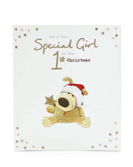 1St tarjeta de Navidad para niña, tarjeta para celebrar la ...