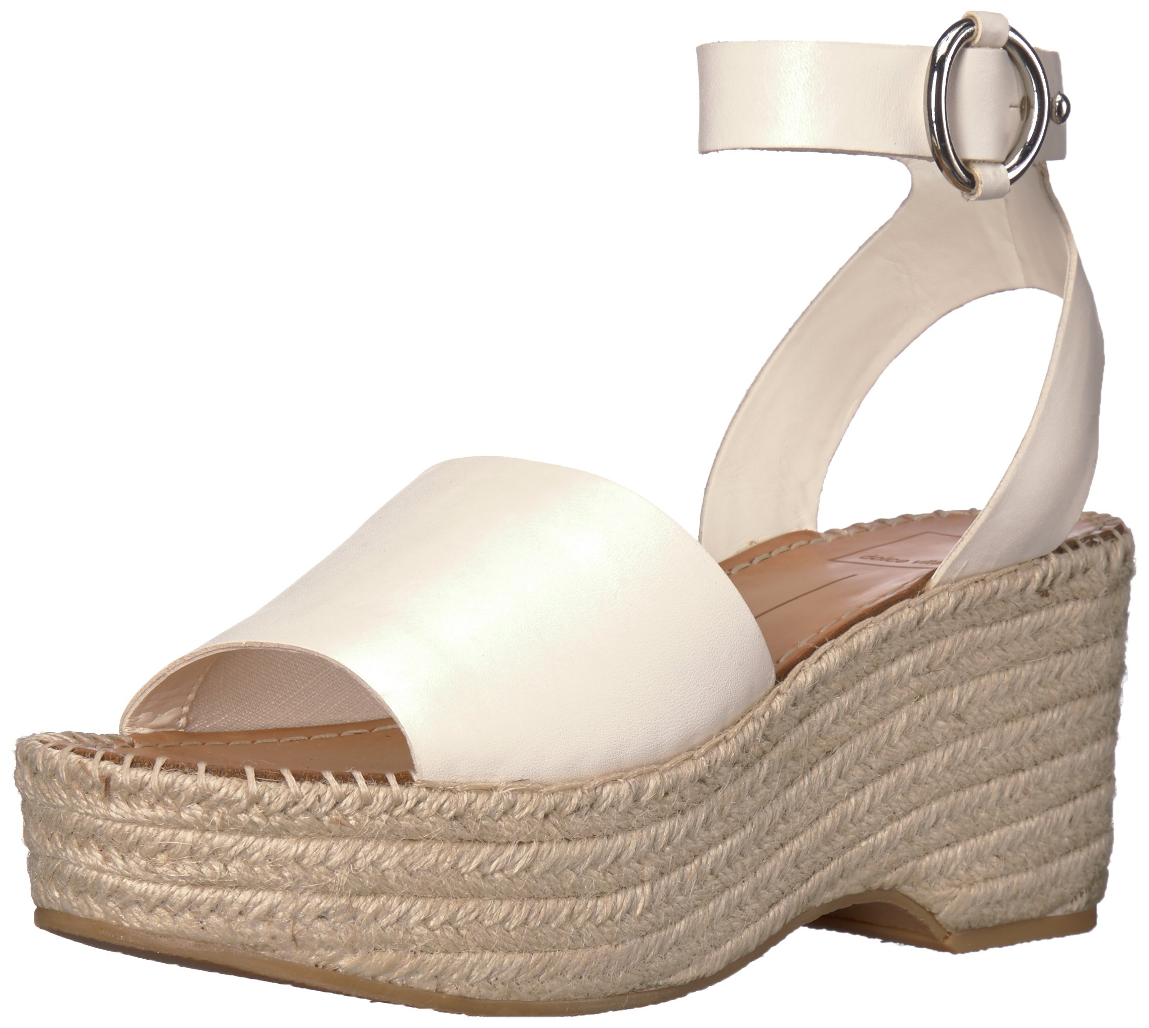 Dolce Vita Women's Lesly Espadrille Wedge Sandal, Off White Leather, 10 M US