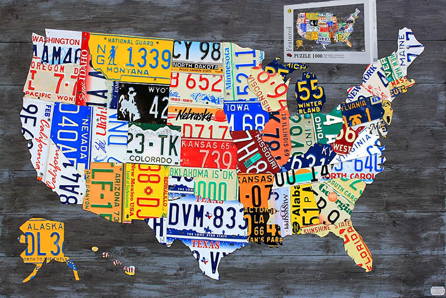 Map Of Us License Plates Amazon.com: Geekpuz License Plate Map USA Jigsaw Puzzles 1000