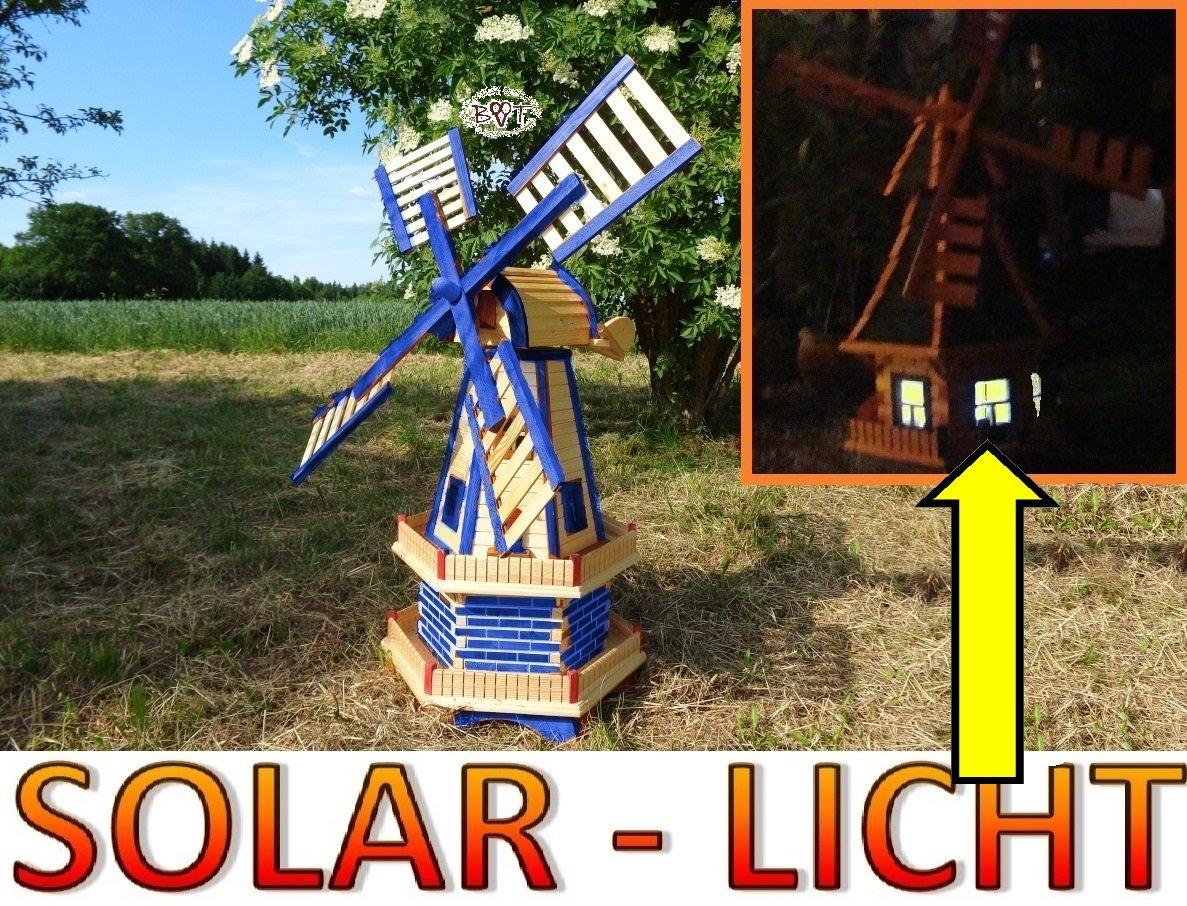 Grosse Windmühle, Gartenwindmühle 130 cm, zweistöckig 2 Balkone aus Holz, garten windmühlen, MIT SOLAR - AUTOMATIK / Solarleuchten + Solarmodul, Solarbeleuchtung DOPPEL-SOLAR LICHT WMH130bl-MS 1,30 m groß blau mittelblau dunkelblau königsblau himmelblau