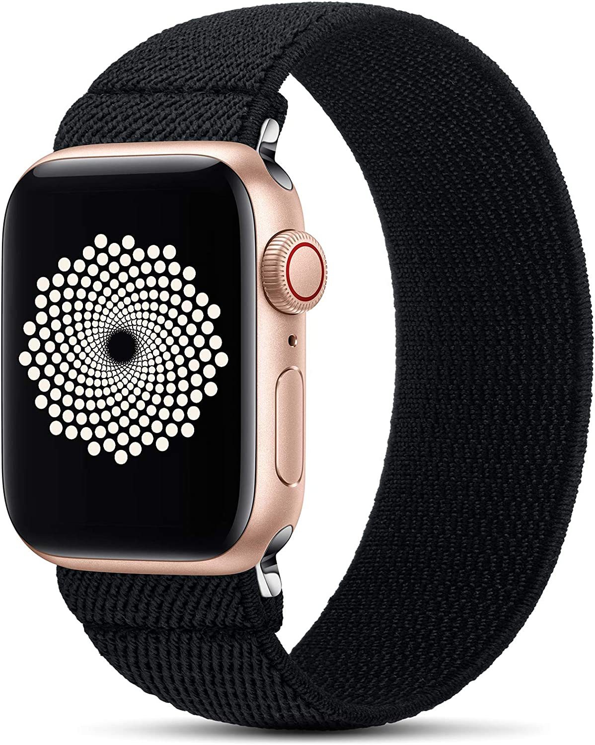 GeekSpark Elastic Band Compatible for Apple Watch Bands 38mm 40mm 42mm 44mm Stretchy Loop Strap Replacement Wristband for iwatch Series 6/SE/5/4/3/2/1 (Black S/M 42mm/44mm)