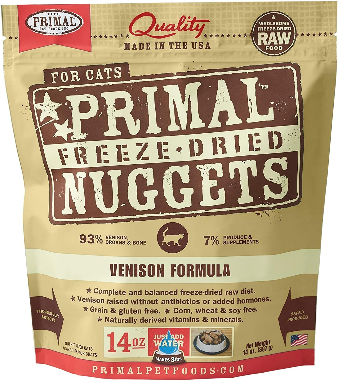 Primal Pet Foods 14 Oz Freeze Dried Venison Cat Food, Medium