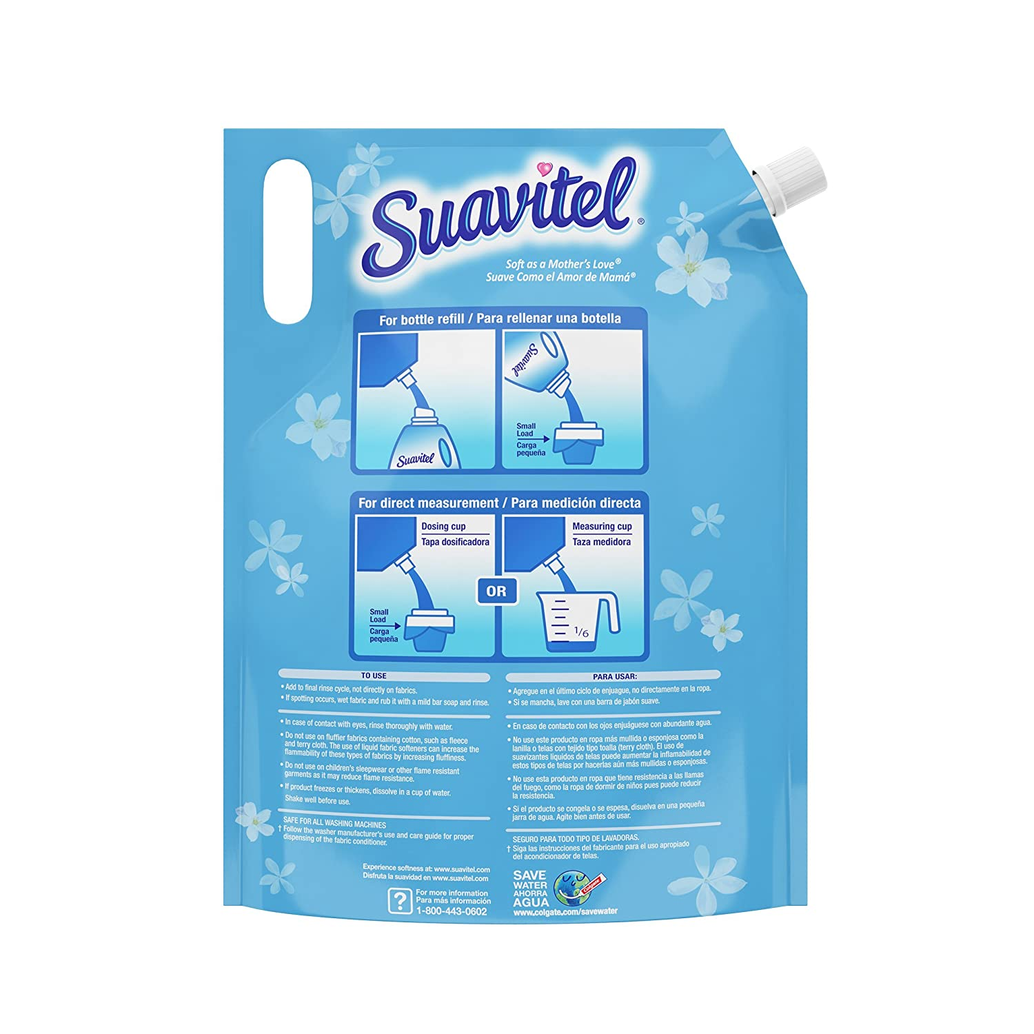 Amazon.com: Suavitel Liquid Fabric Softener Stand Up Pouch, Field Flowers - 49 Fluid Ounce (4 Pack): Health & Personal Care