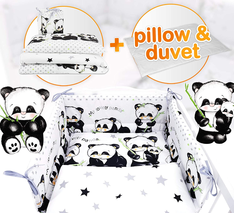 Mattress Size 5 pc Nursery Baby Bedding Set for COT 120X60 OR COT Bed 140X70cm Inc -Duvet+Pillow+Duvet Cover+Pillow CASE+ Bumper Blue Koala, COT120X60