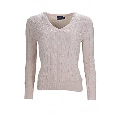 092294e8ec7a Ralph Lauren Pull col V torsadé Rose pour Femme  Amazon.fr  Vêtements et  accessoires