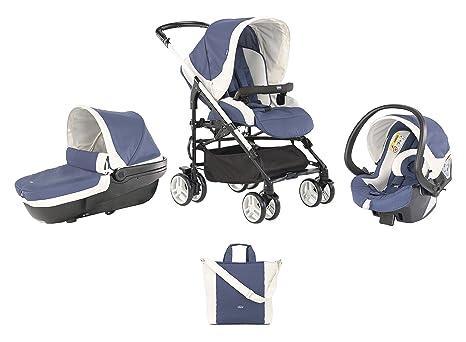 Chicco Trio My City - Sistema de paseo y viaje 3 en 1, capazo/carrito/coche, grupo 0+, color azul