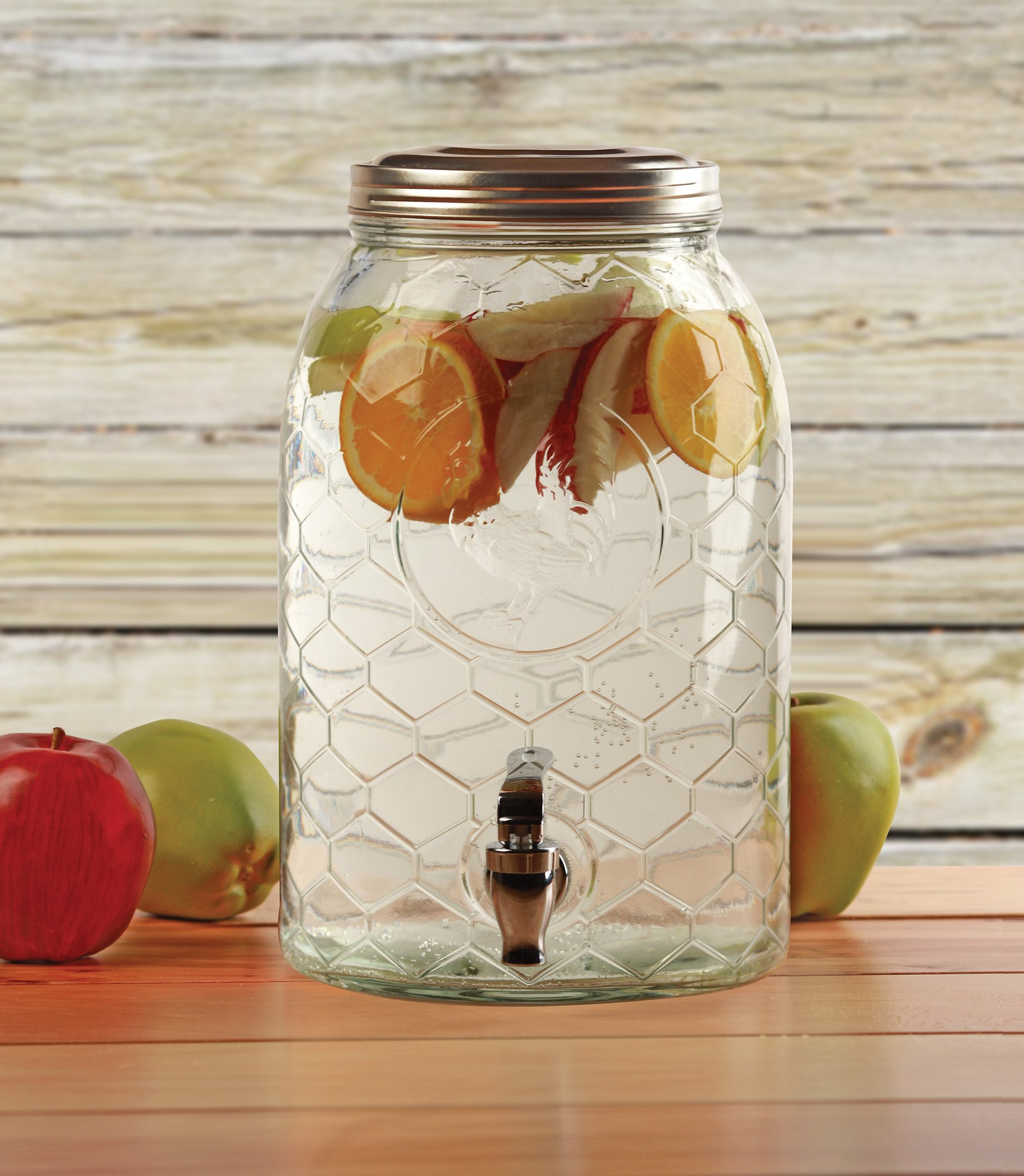 Circleware 69142 Rooster Glass Beverage Dispenser with Metal Fence Stand and Lid Sun Tea Jar with Spigot Entertainment Kitchen Glassware Drink Water Pitcher for Kombucha Juice, 1.5 Gal by Circleware (Image #5)