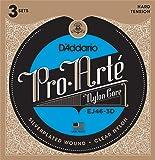 D'Addario EJ46-3D Pro-Arte Nylon Classical Guitar Strings, Hard Tension, 3 Sets