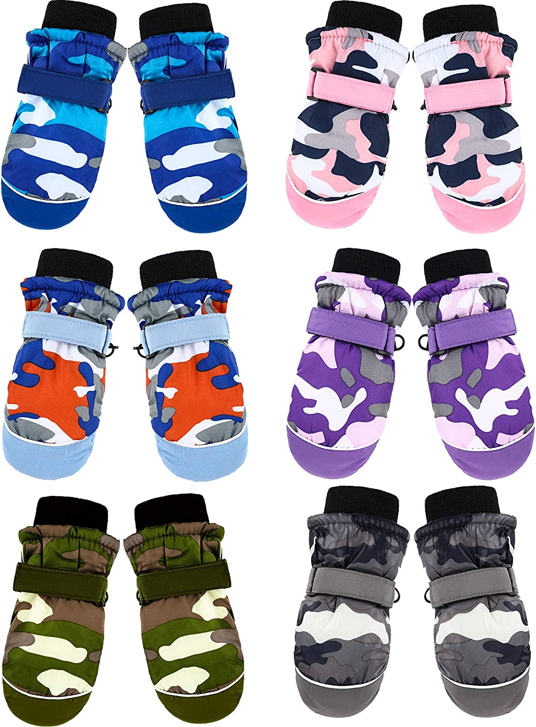 6 Pairs Kids Winter Snow Mittens Waterproof Warm Ski Gloves Unisex Camouflage Gloves for Cold Weather Children (3-5 Years Old)