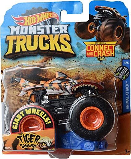 Amazon Com Hot Wheels Monster Trucks Tiger Shark 18 50 Connect And Crash Car Toys Games
