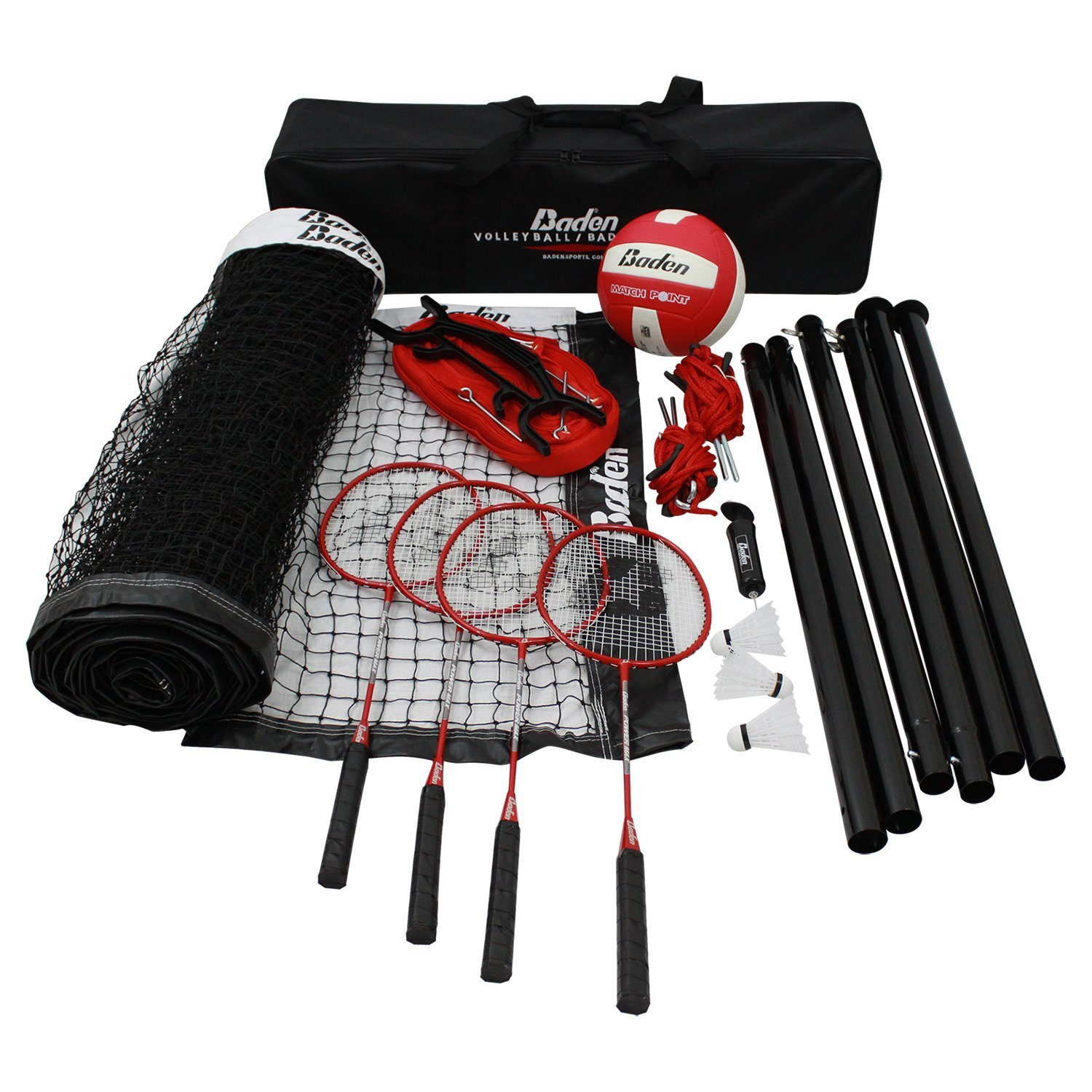Bundle Includes 3 Items - Baden Champions Volleyball Badminton Set, Flickin' Chicken and Champion Sports Wooden Ring Toss Game by Baden, Champion Sports & Haywire Group (Image #2)