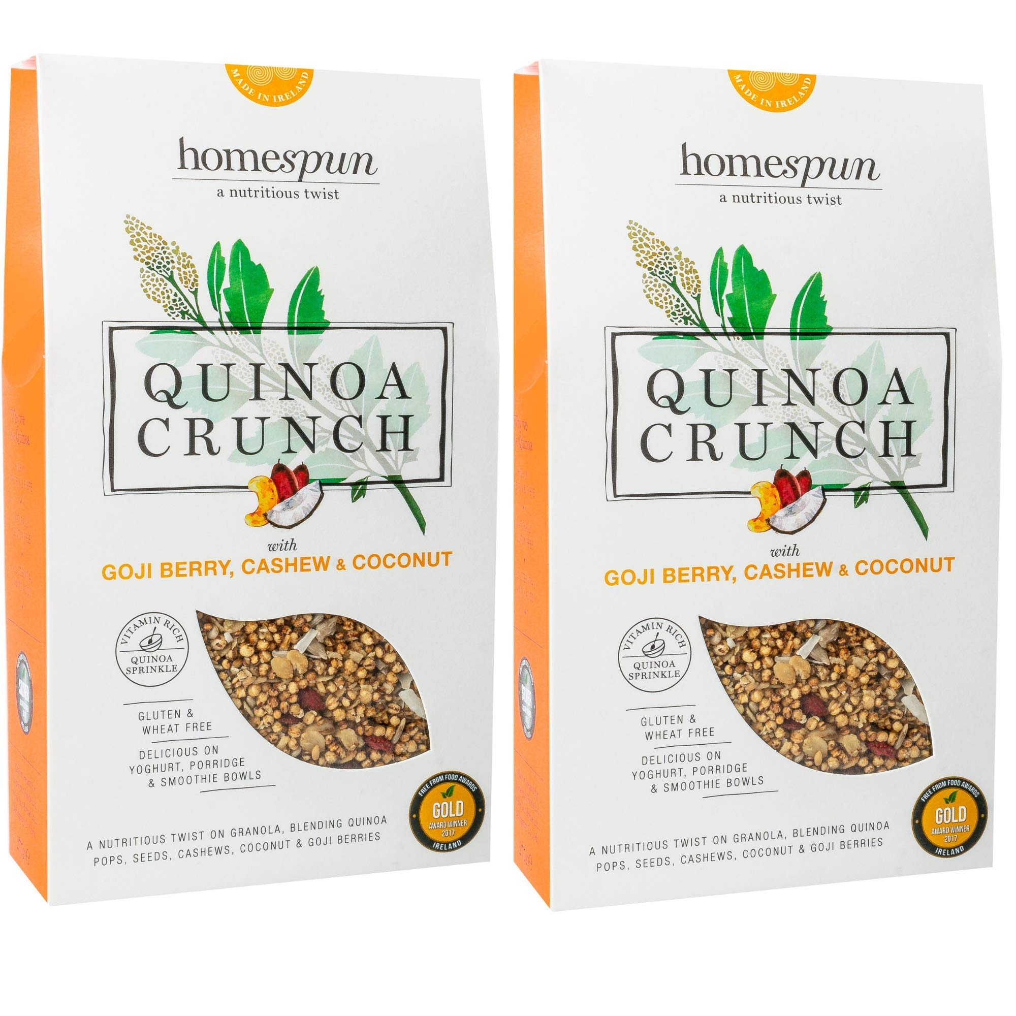 Quinoa Crunch - Luxuriously Nutritious Granola - Goji Berry, Cashew & Coconut - No Gluten - Suitable for Coeliacs - 2 x 275g - by Homespun