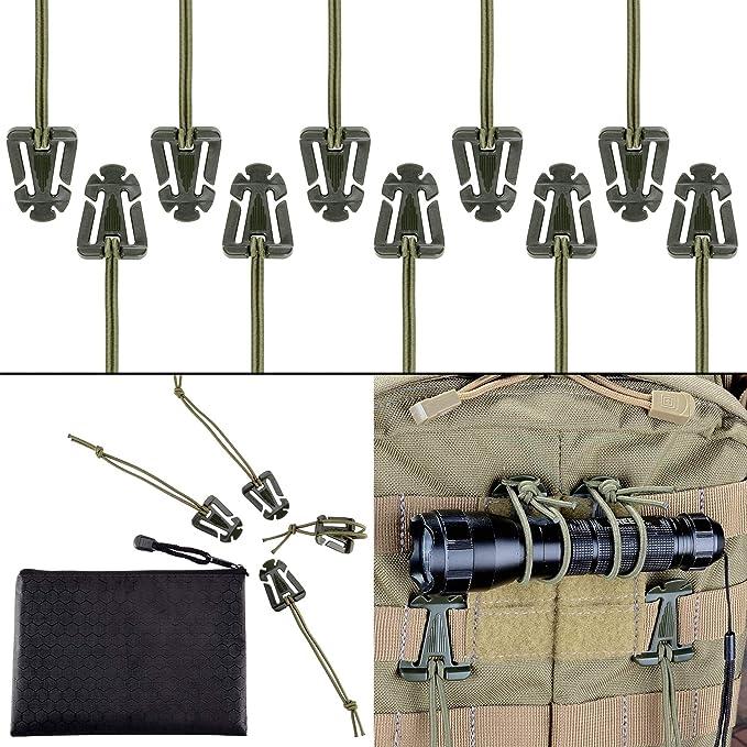 Depring Pack of 10 Tactical Gear Holder Clip Molle Webbing Retainer Elastic Binding Ribbon Buckle for Tactical Vests Backpacks Bags