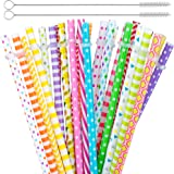 """60 Pieces Reusable Straws,BPA-Free,9"""" Colorful Printing Hard Plastic Stripe Drinking Straw for Mason Jar Tumbler,Family or Party Use,2 Pieces Cleaning Brushs Included(Random Pattern)"""