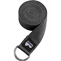 Reehut Yogagordel van katoen met stevige sluiting van 2 verstelbare D-ringen, lange yogariem band accessoire voor…