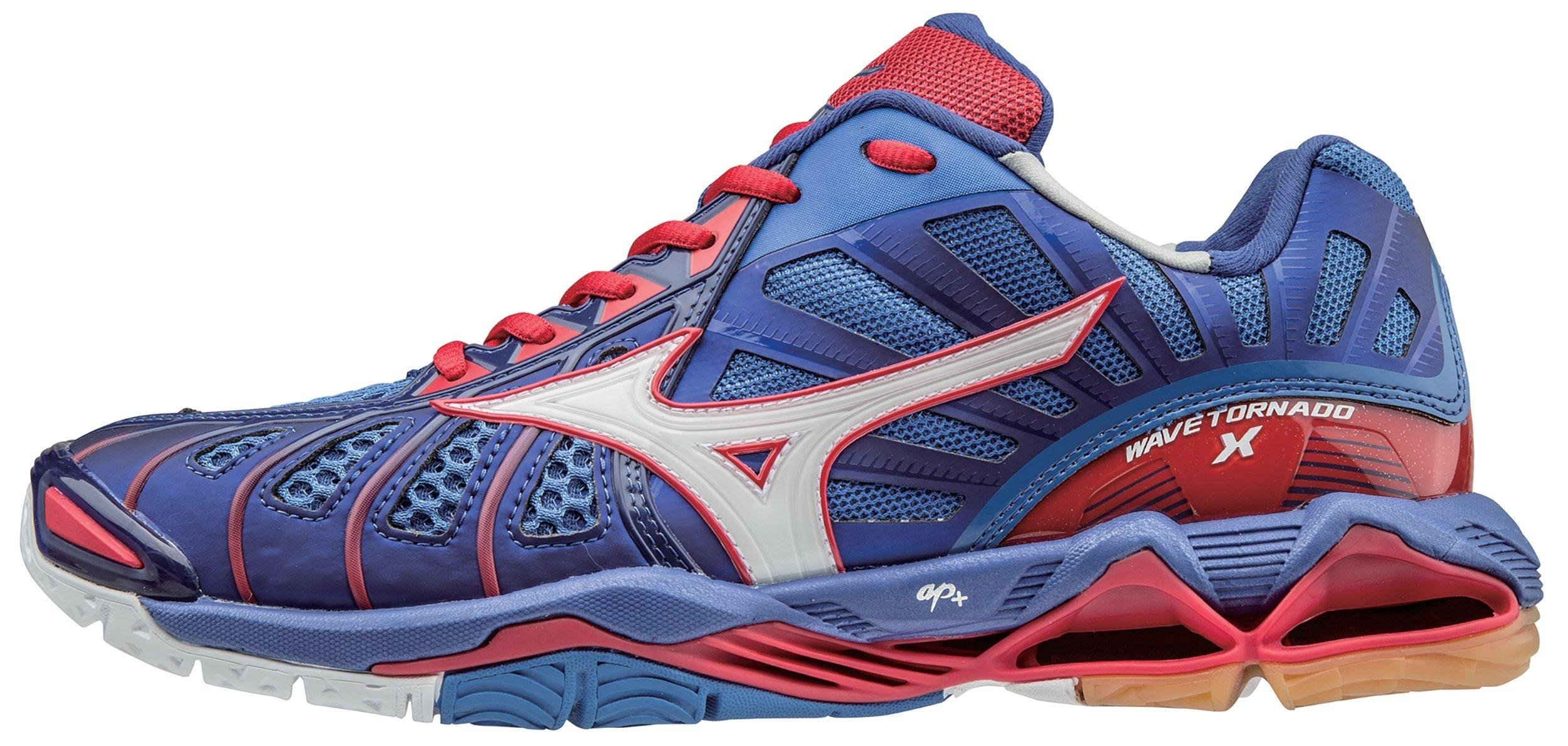 Mizuno Men's Wave Tornado X Volleyball Shoe, Mazarine Blue/Lollipop, 12.5 D US