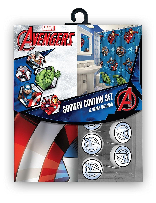 Disney Marvel New 13pcs Set (Shower Curtain with Hooks) OR 14pcs Set (Shower Curtain Set with Bath Memory Foam Mat) (Avengers, 13pcs Set - Shower Curtain Set)