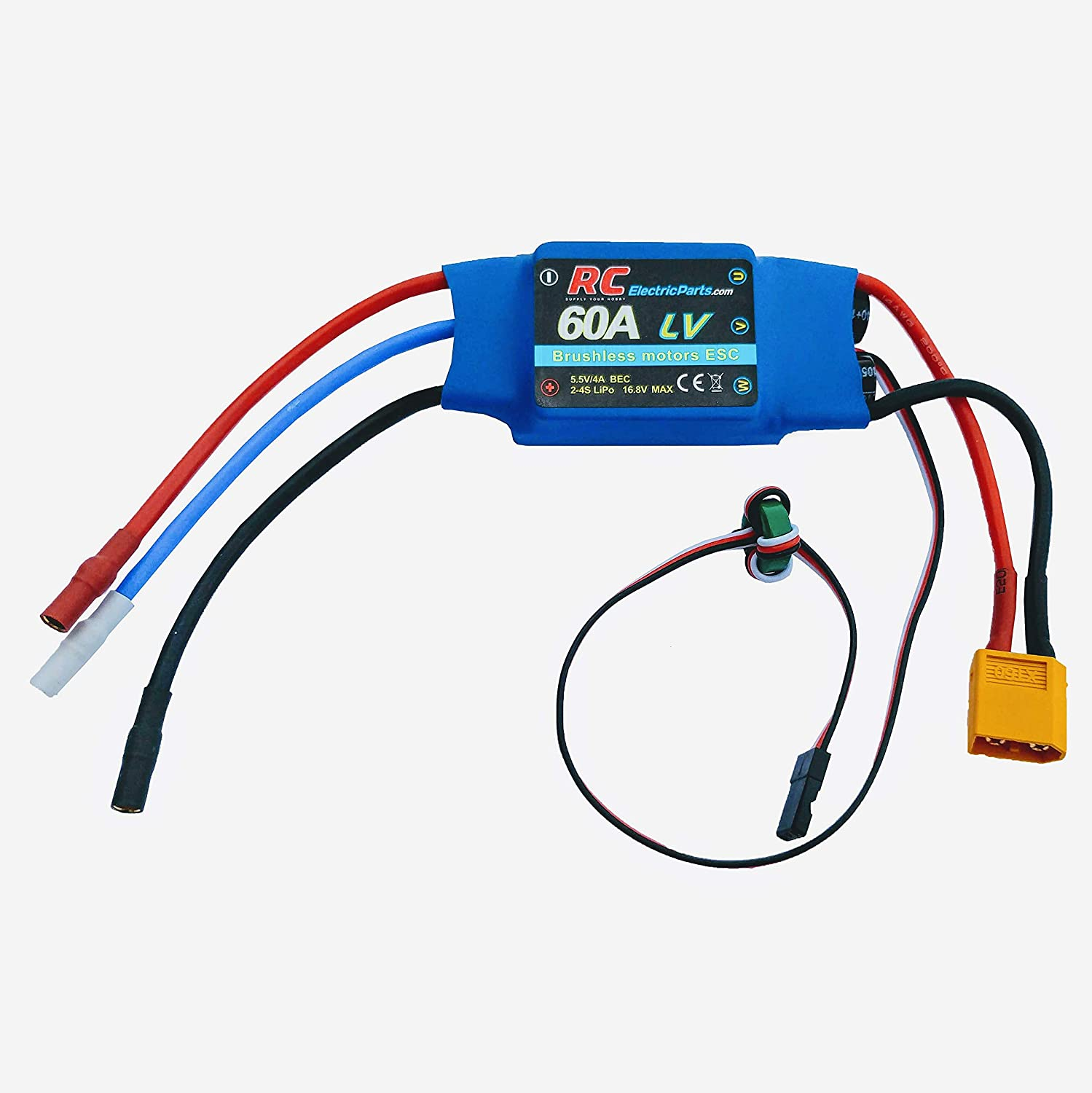60A RC Brushless Motor Electric Speed Controller ESC 4A UBEC with XT60 &  3 5mm bullet plugs