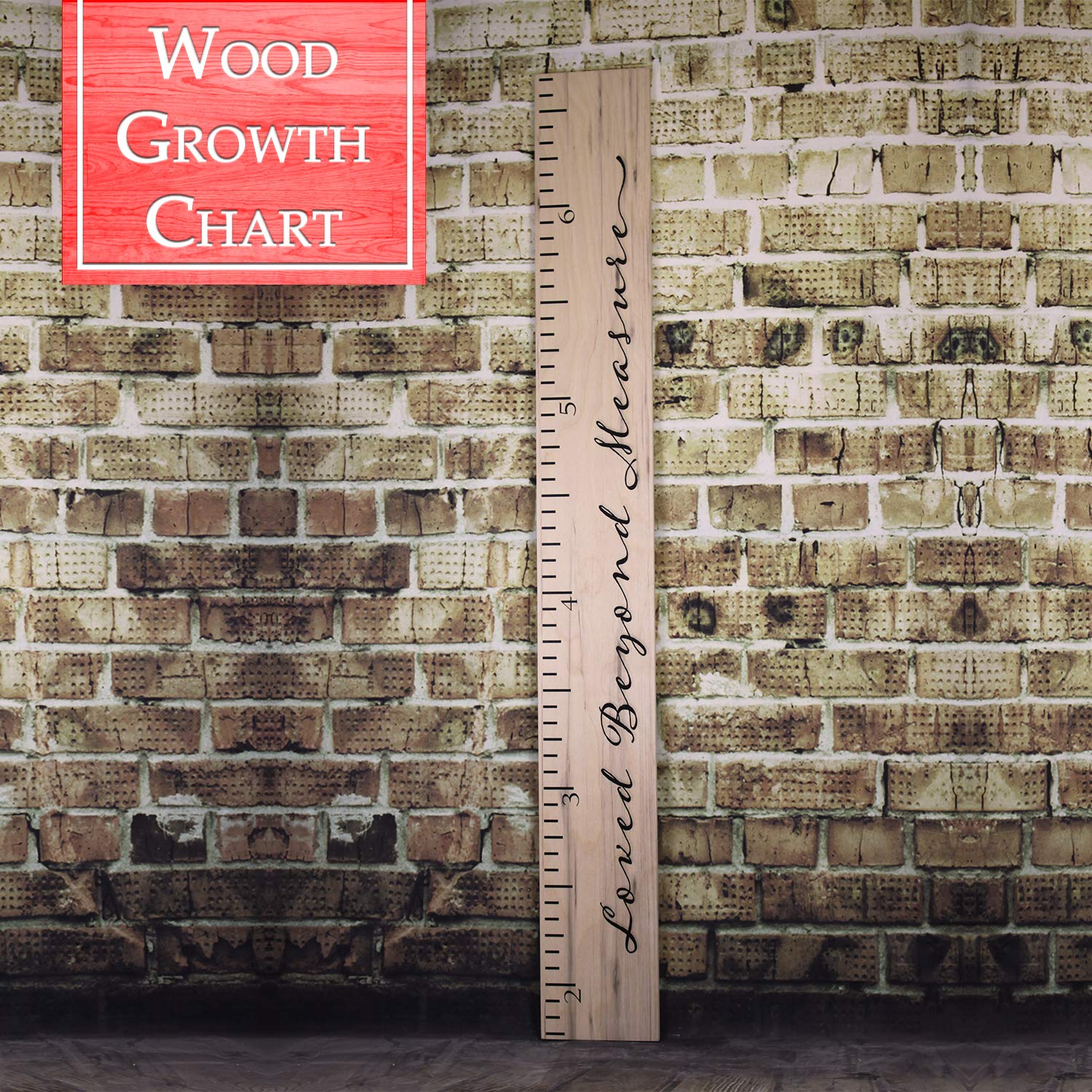 Back40Life   Loved Beyond Measure - 60'' Premium Wooden Growth Chart Ruler (Weathered Natural)