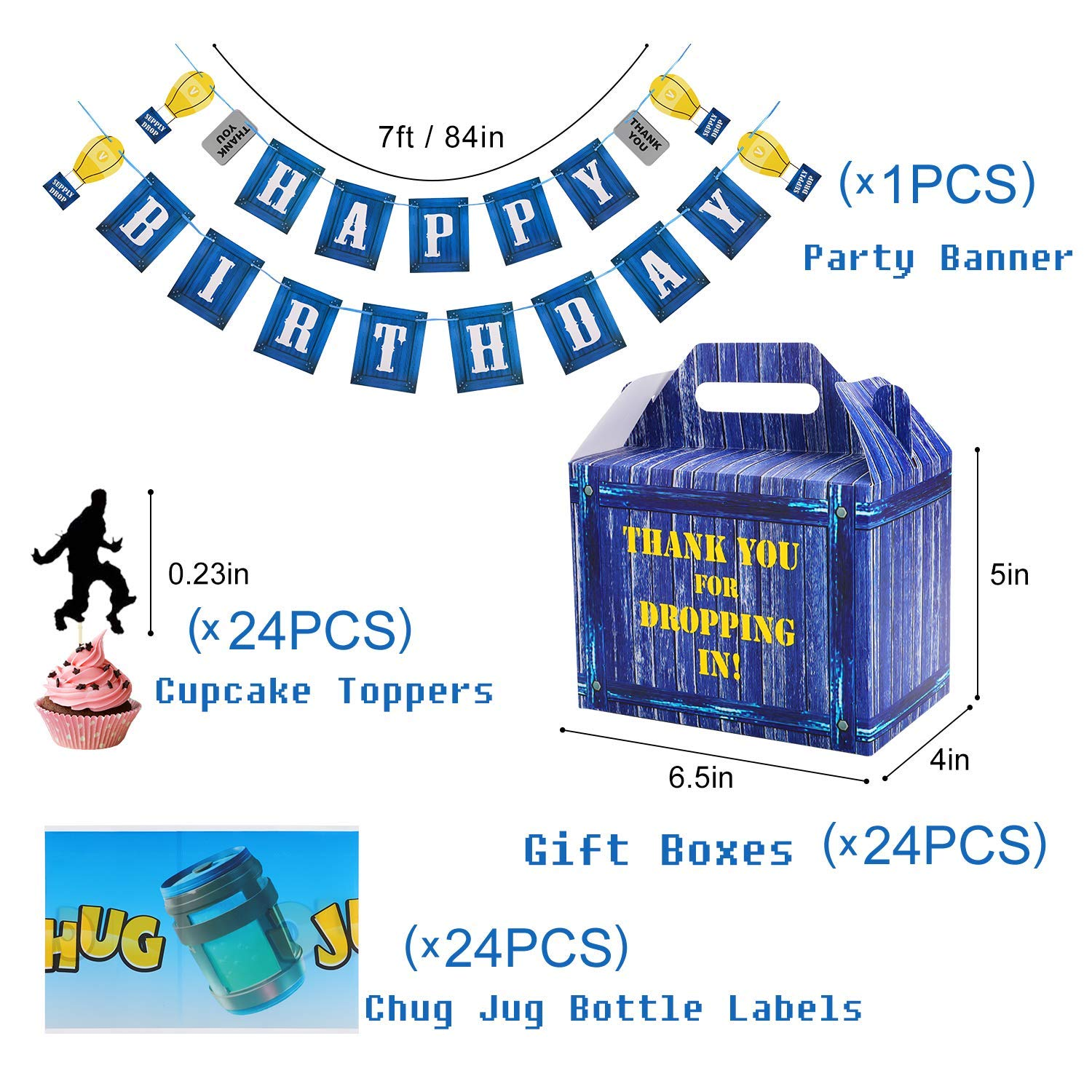 Birthday Party Supplies Set for Game Themed-Including 24 Chug Jug Bottle Labels,24 Game Party Drop Box,24 Cupcake Toppers(24 Styles),1 Birthday Party Banner by Esjay (Image #1)