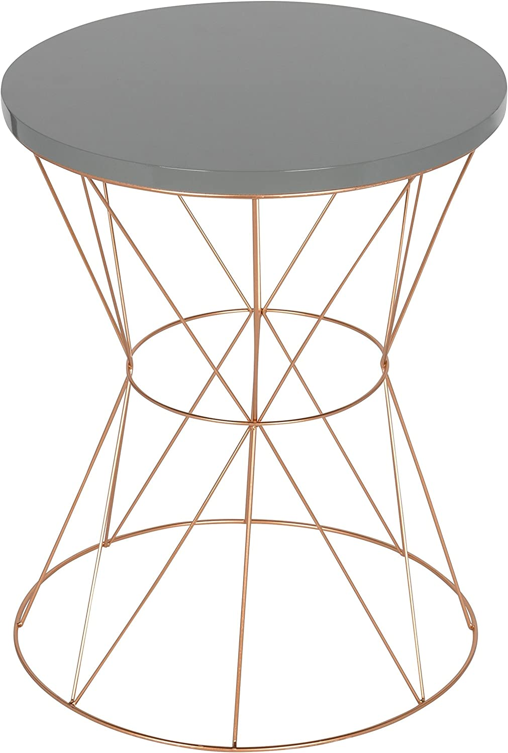 Kate and Laurel Mendel Round Metal End Table, Gray Top with Rose Gold Base