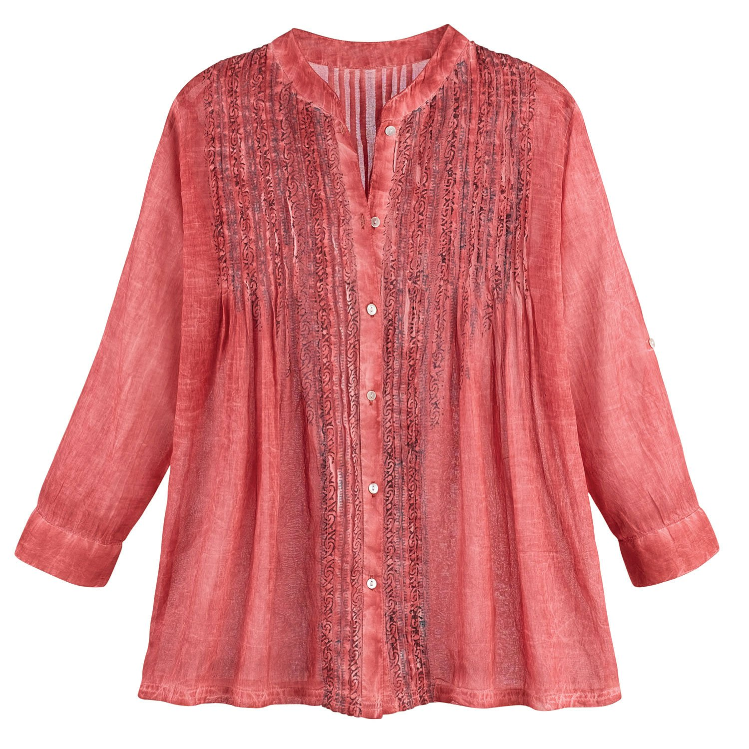 ae448caa6 Women's Tunic Shirt and Scarf Set - Desert Rose Red - Button Down Top at  Amazon Women's Clothing store: