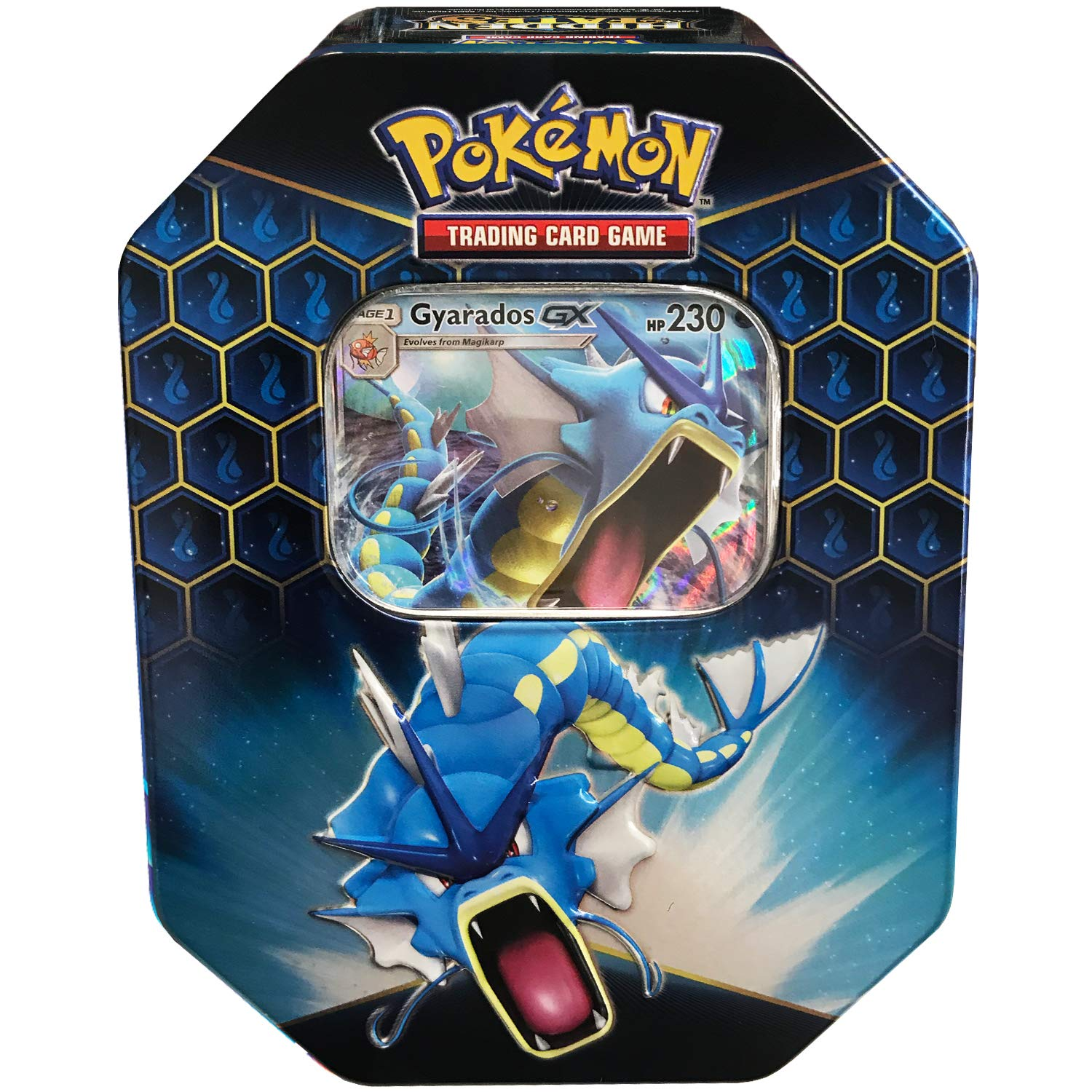 Pokemon SM11.5 Hidden Fates Gx Tin- Gyardos + 1 of 3 Foil Pokémon-GX Cards + 4 Booster Pack, Multicolor