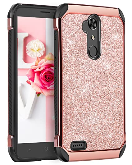 detailed look 6b249 4ef36 ZTE Max XL Case, ZTE Max XL Cover for Girls, BENTOBEN Sparkly Bling Scratch  Resistant Dual Layer Hybrid Hard PC Flexible TPU Bumper Shockproof ...