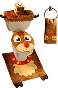 JOYIN 5 Pieces Christmas Reindeer Theme Bathroom Decoration Set w/Toilet Seat Cover, Rugs, Tank Cover, Toilet Paper Box Cover and Santa Towel for Xmas Indoor Décor, Party Favors