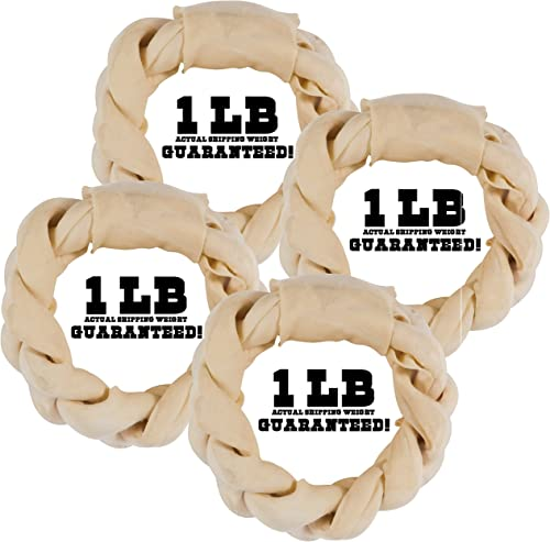 Balls n Bones Big Dog ONE-Pound Braided Rawhide Rings for Large Dogs