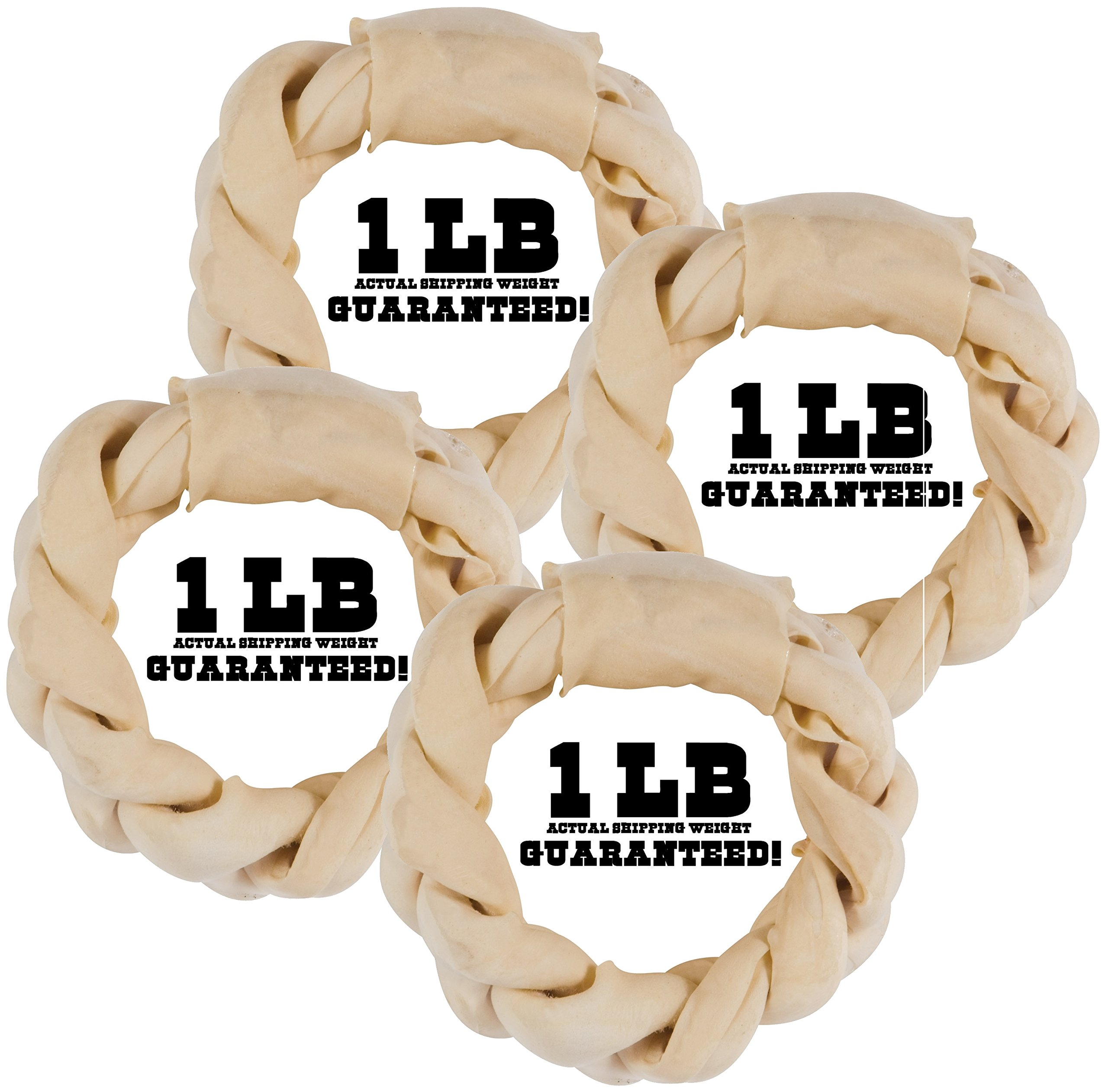 Balls 'n Bones BIG DOG ONE-POUND Braided Rawhide Rings for Large Dogs (Natural, 4-Pack)