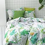 Duvet Cover Set Queen, 100% Soft Cotton Bedding, Botanical Floral Green Garden Leaves Pattern Printed on White, with Zipper Closure (3pcs, Queen Size)