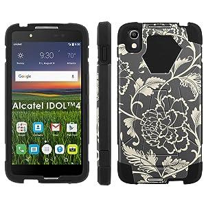 Alcatel One Touch IDOL 4 [Nitro 4/49] Phone Cover, Flower Pattern - Black Hexo Hybrid Armor Phone Case for Alcatel One Touch IDOL 4 [Nitro 4/49]