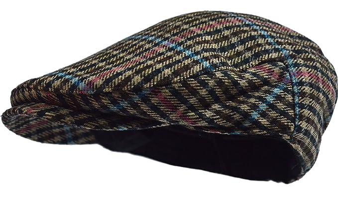 4237cbf83b Wonderful Fashion Men's Herringbone Wool Tweed Newsboy Ivy Cabbie Driving  Hat (Blue Plaid)